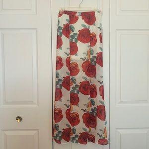 Floor-Length Floral Skirt with Slits